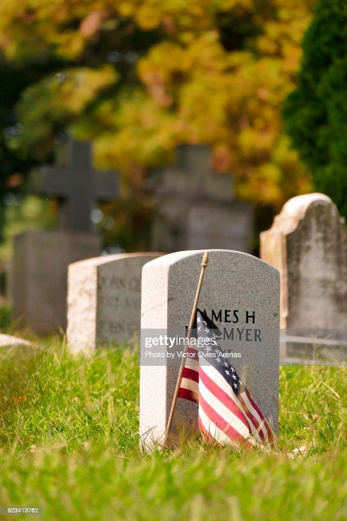 Tombstones, Greenwood Cemetery, Brooklyn, New York, USA : Foto de stock