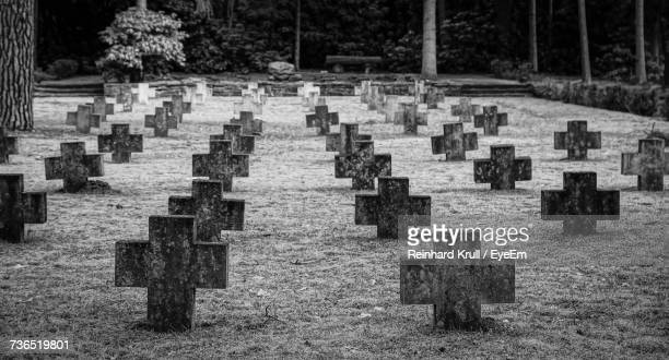 Tombstones In Row At Cemetery