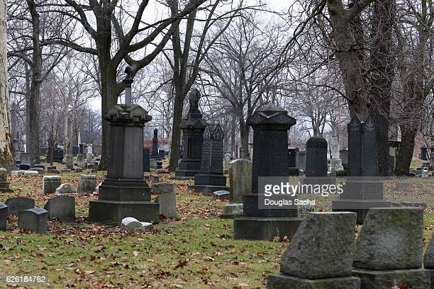 Tombstones mark the historic graves