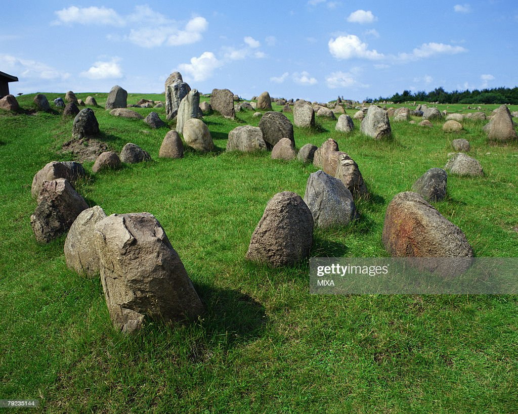Tombstones of Vikings in Lindholm, Denmark : Stock Photo
