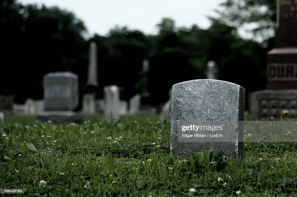 Tombstones On Grassy Field In Cemetery Against Sky : Stockfoto