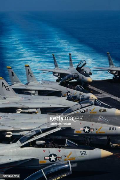 Tomcat planes on nuclearpowered aircraft carrier USS Dwight D Eisenhower