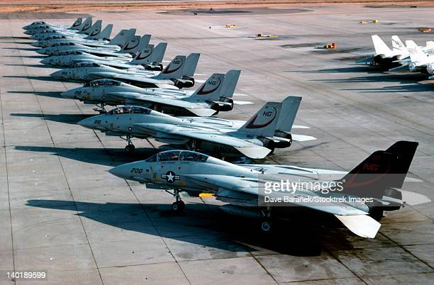 F-14A Tomcats of U.S. Navy Fighter Squadron 24 on the flight line at NAS Miramar in San Diego, California.