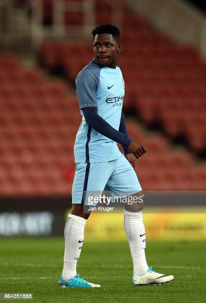 Tome DeleBashiru of Manchester City during the FA Youth Cup Semi Final second leg match between Stoke City and Manchester City at Bet365 Stadium on...