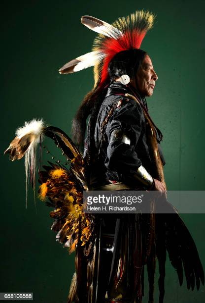 Tome Roubideaux from the Lakota and Metis Nations poses for a portrait during the 43rd annual Denver March Powwow at the Denver Coliseum on March 26...
