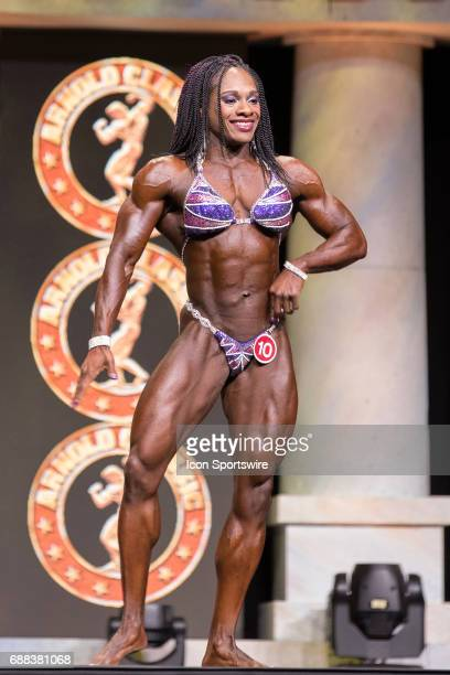 Tomefafa Ameko competes in Women's Physique International as part of the Arnold Sports Festival on March 3 at the Greater Columbus Convention Center...