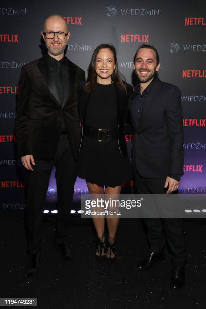 Tomek Baginski Lauren Schmidt Hissrich and Jason Brown attend the premiere of the Netflix series The Witcher on December 18 2019 in Warsaw Poland
