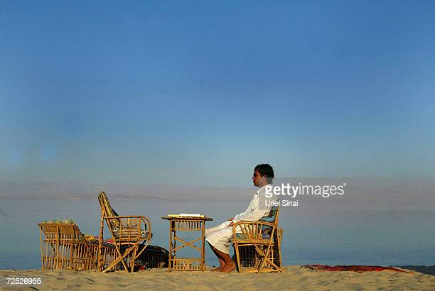 Tomer Hadad a twentysomething Israeli man finds tranquility as he takes a break from the stress of Israeli life on the evening of May 6 2005 on Bir...