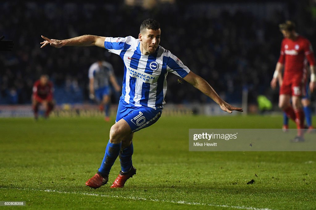 Tomer Hemed of Brighton and Hove Albion celebrates as he scores their first goal during the Sky Bet Championship match between Brighton & Hove Albion and Cardiff City at Amex Stadium on January 24, 2017 in Brighton, England.