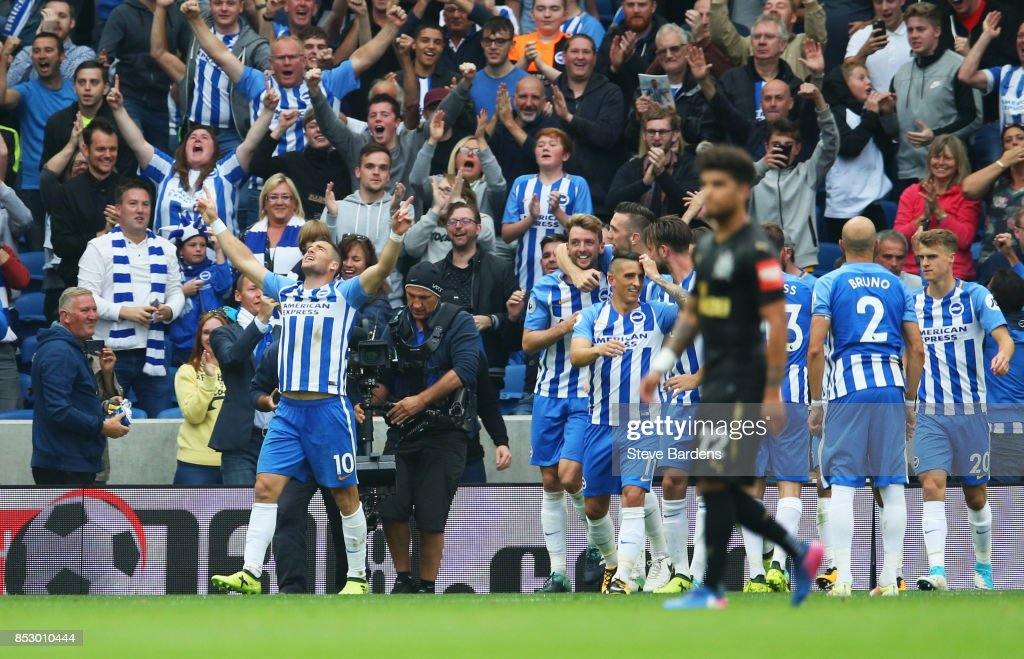 Tomer Hemed of Brighton and Hove Albion (10) celebrates as he scores their first goal during the Premier League match between Brighton and Hove Albion and Newcastle United at Amex Stadium on September 24, 2017 in Brighton, England.