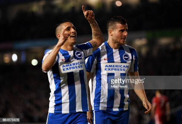 Tomer Hemed of Brighton and Hove Albion celebrates scoring his sides second goal with Anthony Knockaert of Brighton and Hove Albion during the Sky...