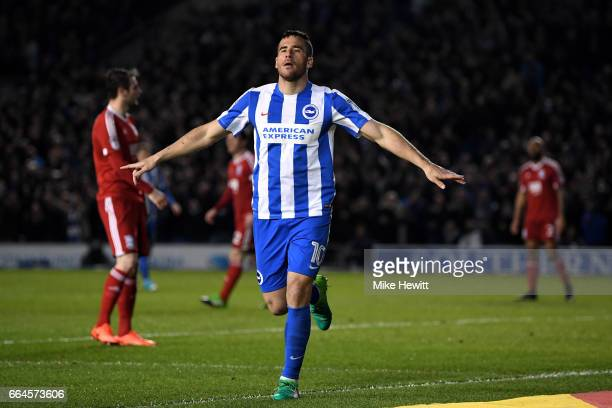 Tomer Hemed of Brighton and Hove Albion celebrates scoring his sides second goal during the Sky Bet Championship match between Brighton Hove Albion...