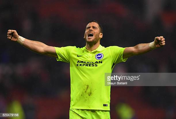 Tomer Hemed of Brighton and Hove Albion celebrates with fans following the Sky Bet Championshipon match between Nottingham Forest and Brighton and...