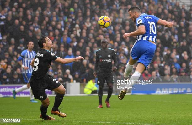 Tomer Hemed of Brighton and Hove Albion heads a chance at goal during the Premier League match between Brighton and Hove Albion and Chelsea at Amex...