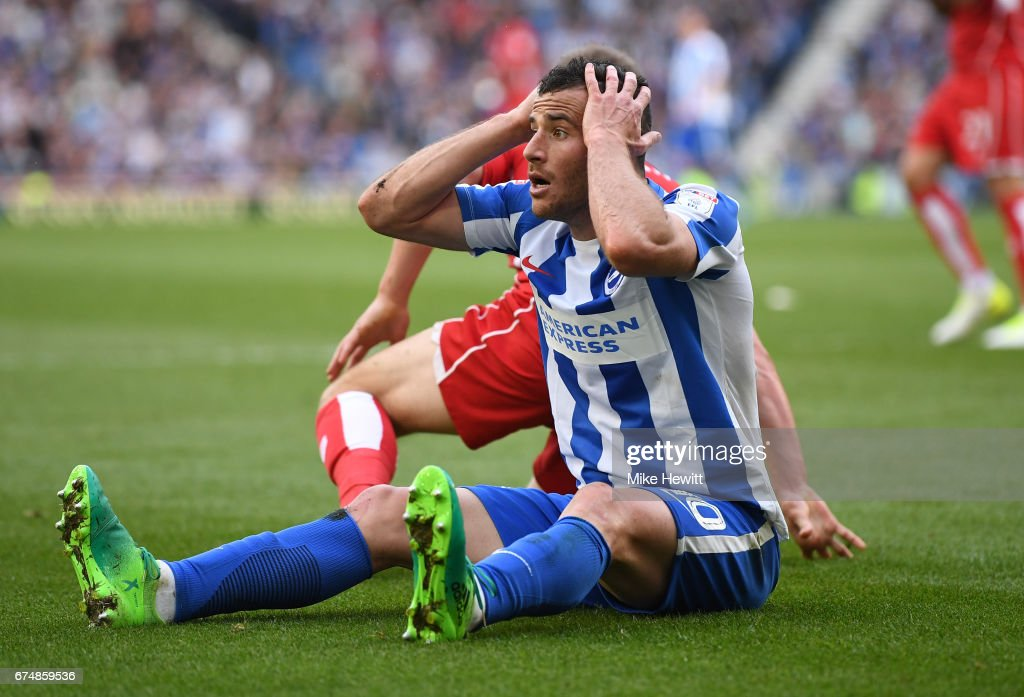 Tomer Hemed of Brighton and Hove Albion reacts during the Sky Bet Championship match between Brighton & Hove Albion and Bristol City at Amex Stadium on April 29, 2017 in Brighton, England.