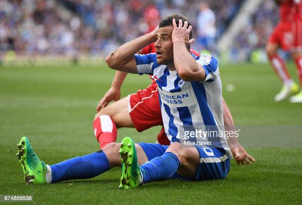 Tomer Hemed of Brighton and Hove Albion reacts during the Sky Bet Championship match between Brighton Hove Albion and Bristol City at Amex Stadium on...