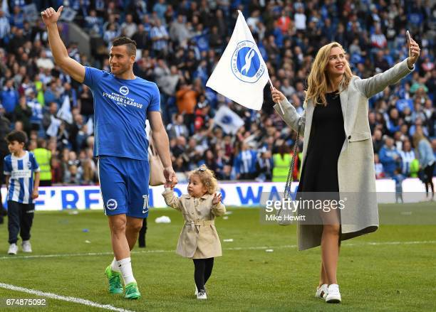 Tomer Hemed of Brighton and Hove Albion salutes the fans after the the Sky Bet Championship match between Brighton Hove Albion and Bristol City at...