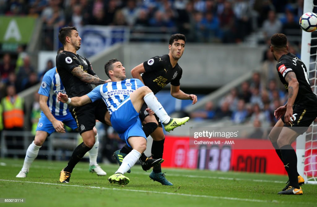 Tomer Hemed of Brighton and Hove Albion scores a goal to make it 1-0 during the Premier League match between Brighton and Hove Albion and Newcastle United at Amex Stadium on September 24, 2017 in Brighton, England.