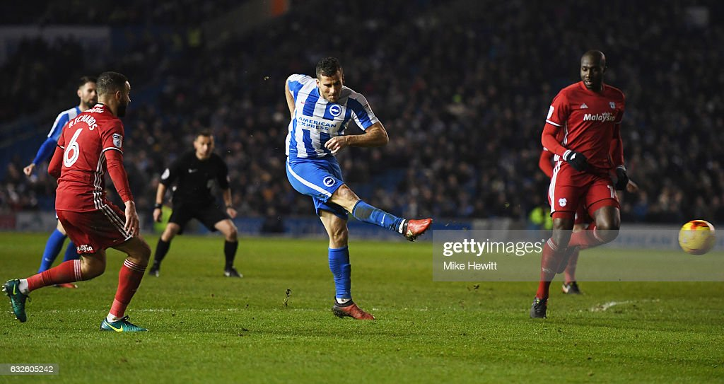 Tomer Hemed of Brighton and Hove Albion (C) scores their first goal during the Sky Bet Championship match between Brighton & Hove Albion and Cardiff City at Amex Stadium on January 24, 2017 in Brighton, England.
