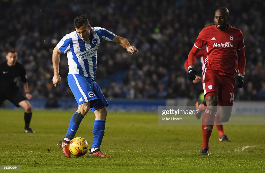 Tomer Hemed of Brighton and Hove Albion (L) scores their first goal during the Sky Bet Championship match between Brighton & Hove Albion and Cardiff City at Amex Stadium on January 24, 2017 in Brighton, England.