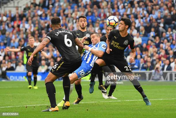 Tomer Hemed of Brighton and Hove Albion scores their first goal during the Premier League match between Brighton and Hove Albion and Newcastle United...