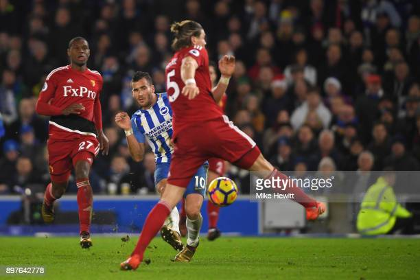 Tomer Hemed of Brighton and Hove Albion shoots during the Premier League match between Brighton and Hove Albion and Watford at Amex Stadium on...
