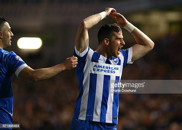 Tomer Hemed of Brighton celebrates after he scored the team's and his second goal of the game during the Sky Bet Championship match between Brighton...