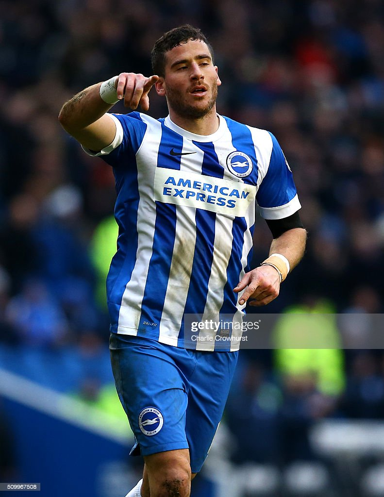 Tomer Hemed of Brighton celebrates after he scores the teams second goal during the Sky Bet Championship match between Brighton and Hove Albion and Bolton Wanderers at The Amex Stadium on February 13, 2016 in Brighton, England.