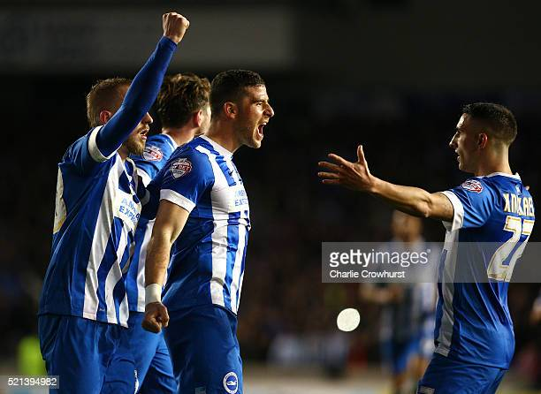 Tomer Hemed of Brighton celebrates after scoring the team's first goal from the penalty spot during the Sky Bet Championship match between Brighton...