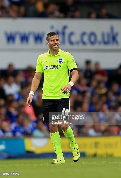 Tomer Hemed of Brighton celebrates scoring his team's second goal during the Sky Bet Championship match between Ipswich Town and Brighton and Hove...