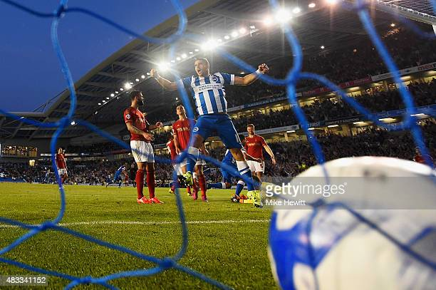 Tomer Hemed of Brighton celebrates the only goal of the game scored by team mate Kazenga LuaLua during the Sky Bet Championship match between...