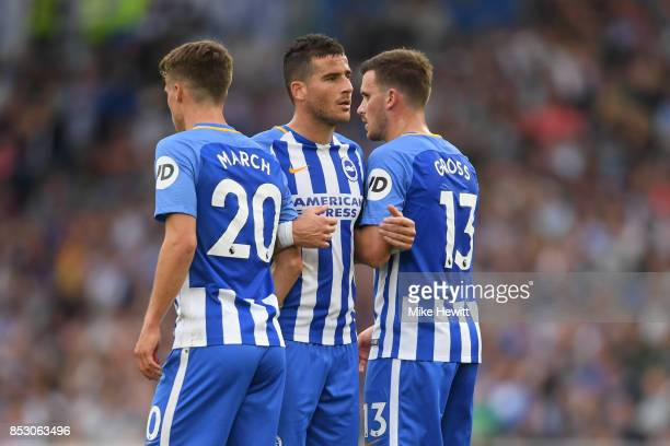 Tomer Hemed of Brighton helps line up a wall during the Premier League match between Brighton and Hove Albion and Newcastle United at Amex Stadium on...