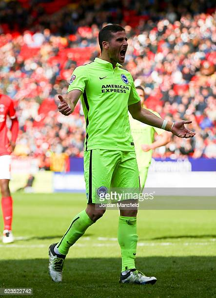 Tomer Hemed of Brighton Hove Albion celebrates scoring his sides third goal during the Sky Bet Championship match between Charlton Athletic and...