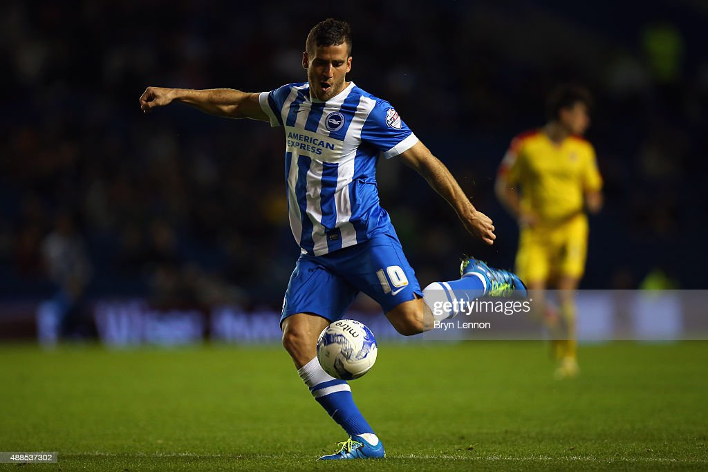 Tomer Hemed of Brighton & Hove Albion in action during the Sky Bet Championship match between Brighton & Hove Albion and Rotherham United at Amex Stadium on September 15, 2015 in Brighton, England.