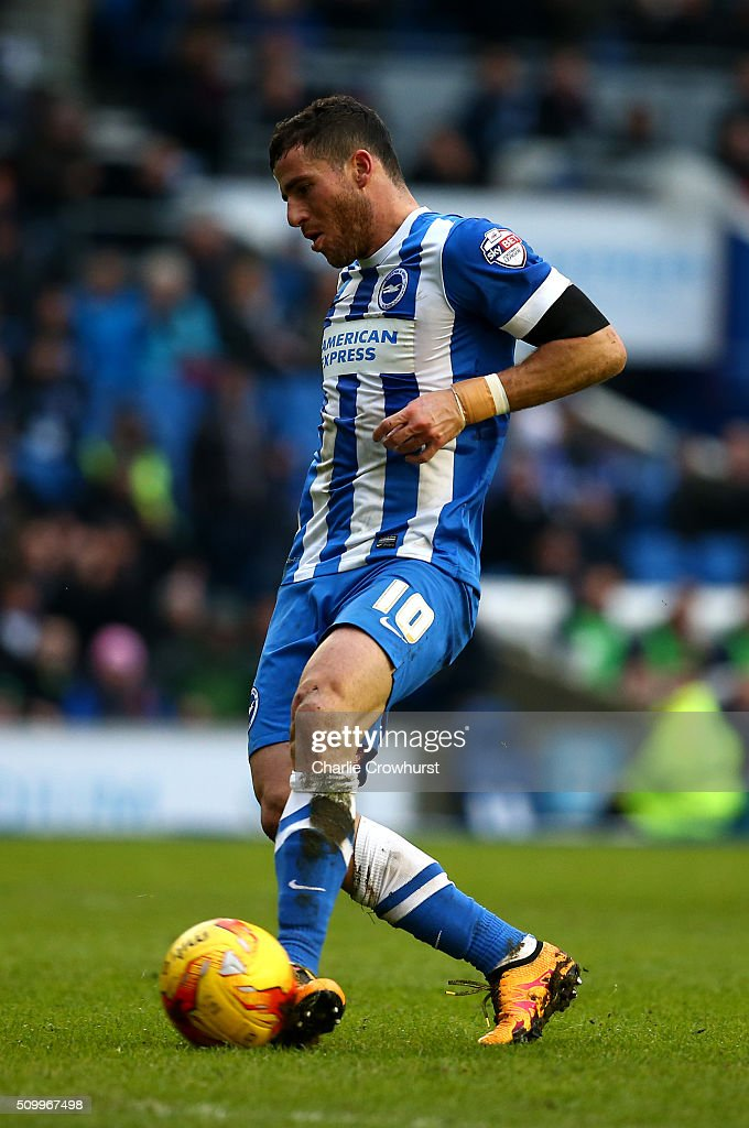 Tomer Hemed of Brighton scores the teams second goal during the Sky Bet Championship match between Brighton and Hove Albion and Bolton Wanderers at The Amex Stadium on February 13, 2016 in Brighton, England.
