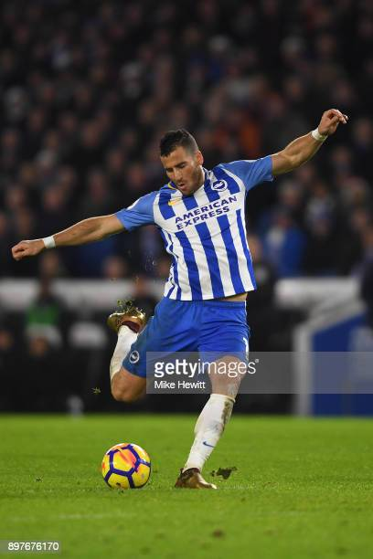 Tomer Hemed of Brighton shoots during the Premier League match between Brighton and Hove Albion and Watford at Amex Stadium on December 23 2017 in...