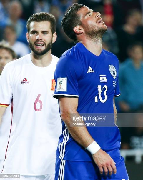 Tomer Hemed of Israel gets upset after loosing the 2018 FIFA World Cup European Group G qualifying football match between Israel and Spain at Teddy...