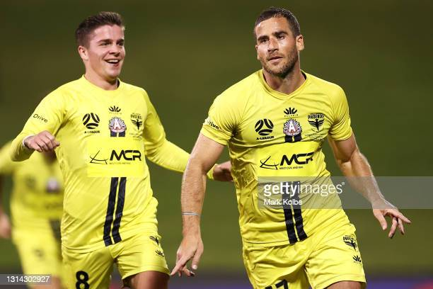 Tomer Hemed of the Phoenix celebrates scoring a goal during the A-League match between the Wellington Phoenix and Adelaide United at WIN Stadium, on...
