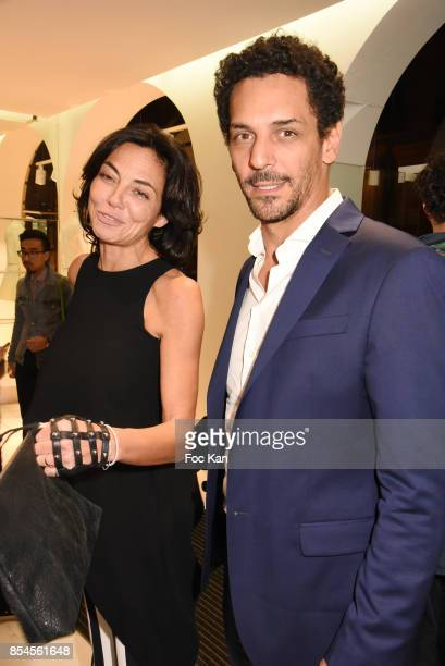 Tomer Sisley and his wife Sandra Zeitoun attend the EMehari X Courreges Cocktail Exhibition as part of the Paris Fashion Week Womenswear...