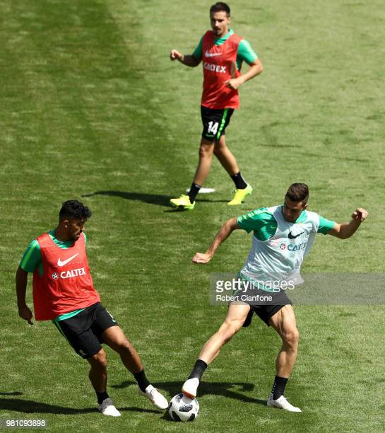 Tomi Juric and Massimo Luongo of Australia take part during an Australian Socceroos training session at Stadium Trudovye Rezervy on June 22 2018 in...