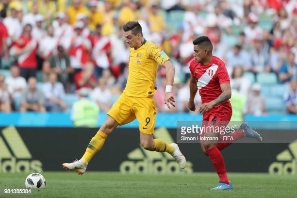 Tomi Juric of Australia and Anderson Santamaria of Peru compete for the ball during the 2018 FIFA World Cup Russia group C match between Australia...