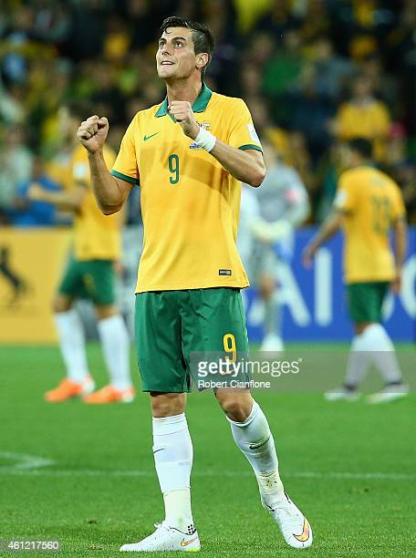 Tomi Juric of Australia celebrates after Australia defeated Kuwait during the 2015 Asian Cup match between the Australian Socceroos and Kuwait at...