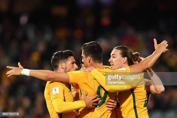 Tomi Juric of Australia celebrates after scoring a goal during the 2018 FIFA World Cup Qualifier match between the Australian Socceroos and Saudi...