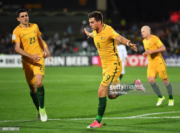 Tomi Juric of Australia celebrates after scoring his second goal during the 2018 FIFA World Cup Qualifier match between the Australian Socceroos and...