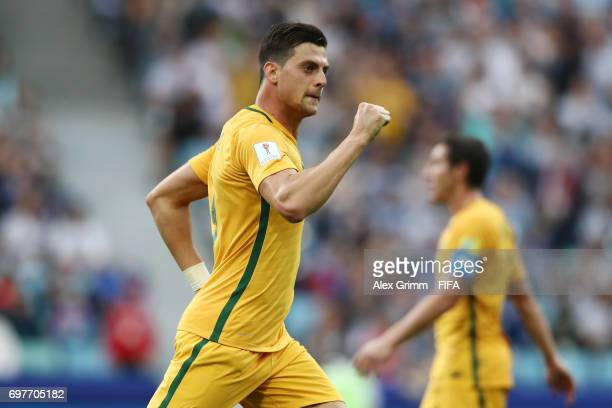 Tomi Juric of Australia celebrates scoring his sides second goal during the FIFA Confederations Cup Russia 2017 Group B match between Australia and...