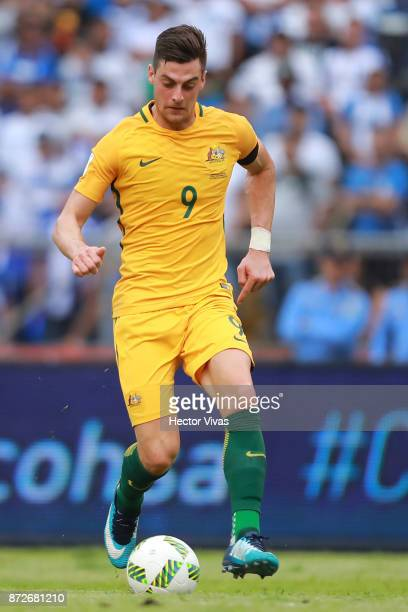 Tomi Juric of Australia drives the ball during a first leg match between Honduras and Australia as part of FIFA World Cup Qualifiers Play Off at...