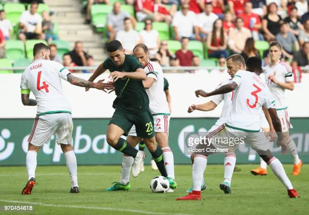 Tomi Juric of Australia is challenged by his opponents during the International Friendly match between Hungary and Australia at Groupama Arena on...