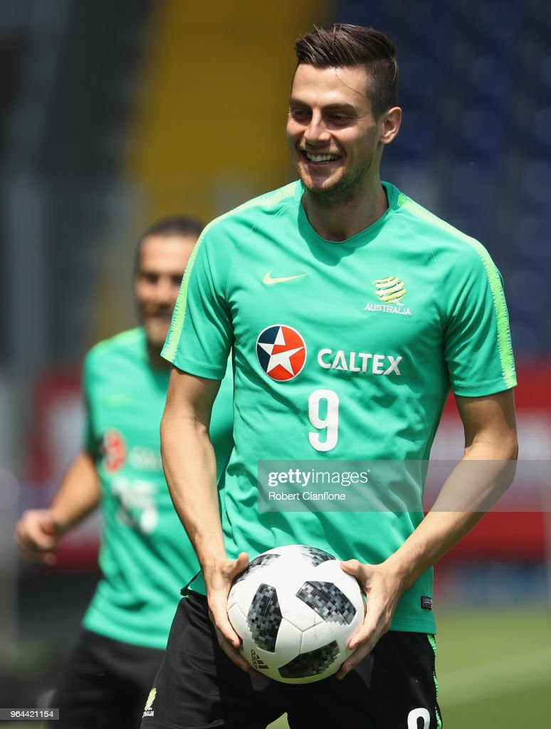 Tomi Juric of Australia looks on during an Australia Socceroos training session at NV Arena on May 31, 2018 in Sankt Polten, Austria.