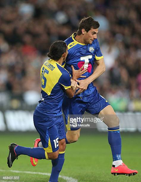 Tomi Juric of the All Stars celebrates scoring a goal with David Williams during the match between the ALeague All Stars and Juventus at ANZ Stadium...