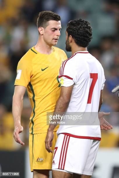 Tomi Juric of the Socceroos and Ali Ahmed Mabkhout of the United Arab Emirates exchange heated words during the 2018 FIFA World Cup Qualifier match...